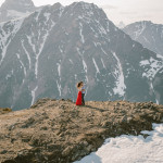 Banff Engagement session on top of a mountain with a helicopter