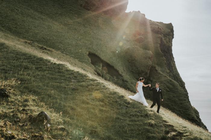 Iceland wedding at black sand beach