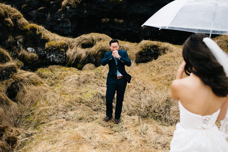 Amazing first looks wedding Iceland