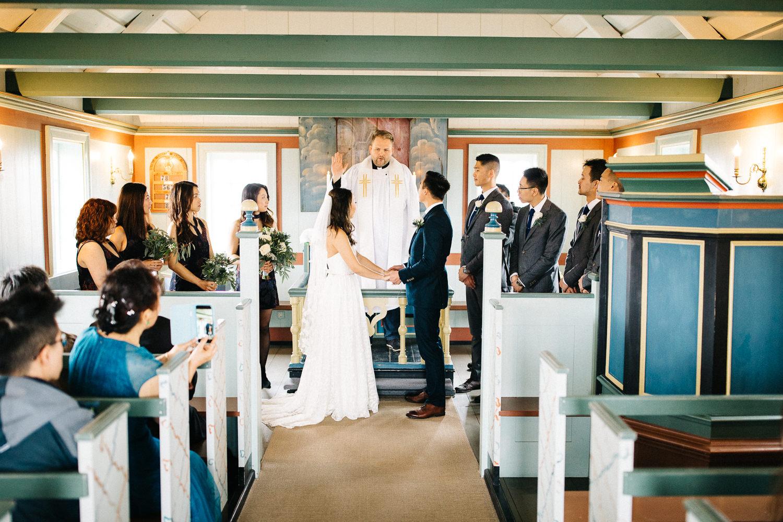 Wedding Buoakirkja Black Church Inside