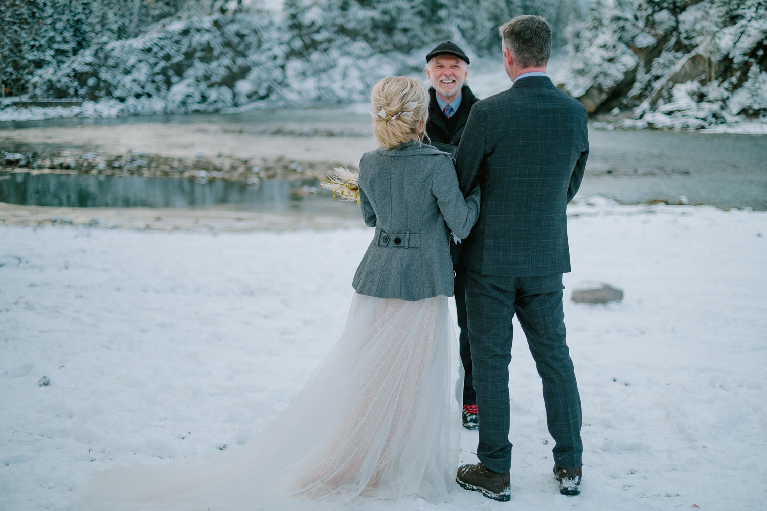 wedding ceremony at bow falls banff