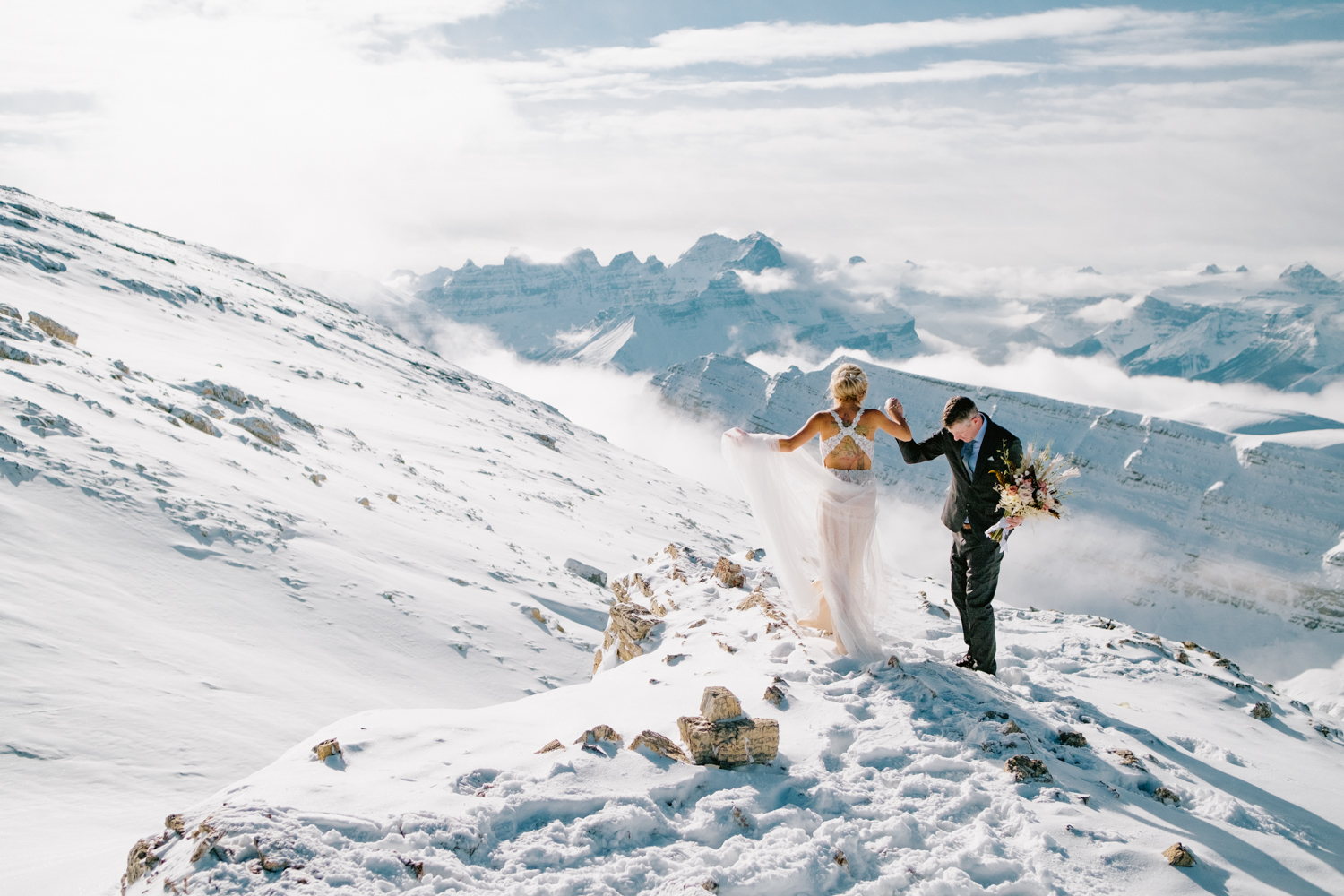 Winter helicopter wedding in banff